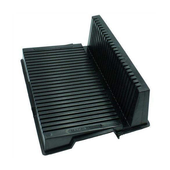 Paneltároló, ESD, L alakú, fekete, 350 x 270 x 130 mm