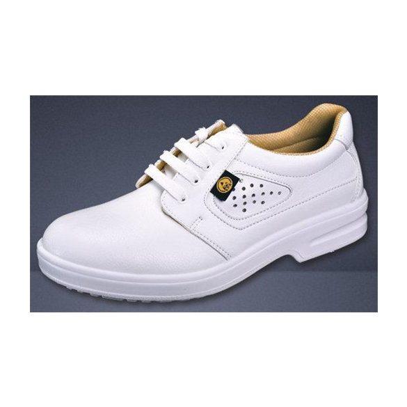 Cipő, ESD, fűzős, fehér, perforált felsőrész, mosható, acélkaplis 42
