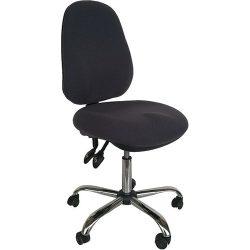 ESD szék, sötétszürke vezetőképes szövettel, vezetőképes háttámlával és görgőkkel