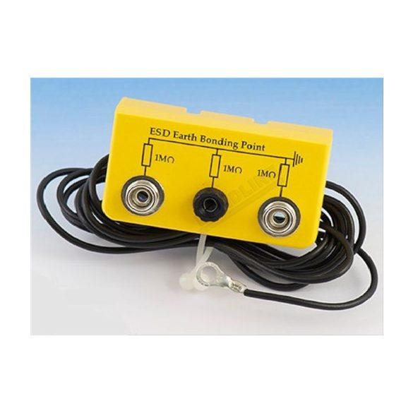 Földelőbox, 2x10,3 mm patent + 1x banándugó, 2 m kábel, - 5mm gyűrű