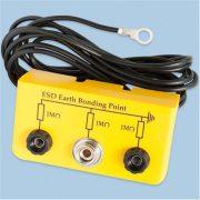 Földelőbox, 2x banándugó + 1x10,3 mm patent - 5mm gyűrű, 2 m kábel