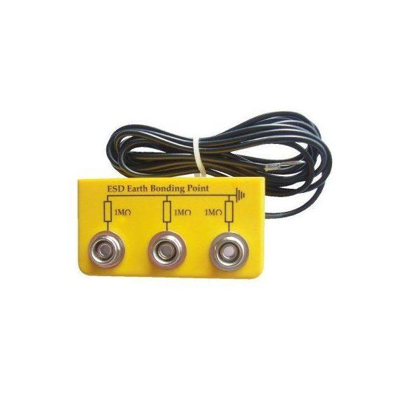 Földelőbox, 3x10,3 mm patent, 2 m kábel, - 5mm gyűrű