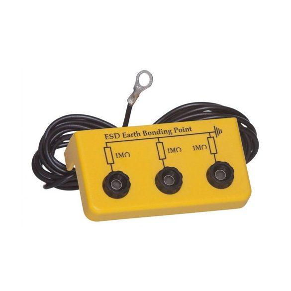 Földelőbox, 3x banándugó, 2 m kábel, - 5mm gyűrű