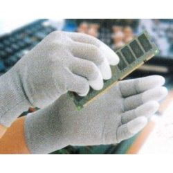 ESD gloves, dissipative, PU fingertips, S