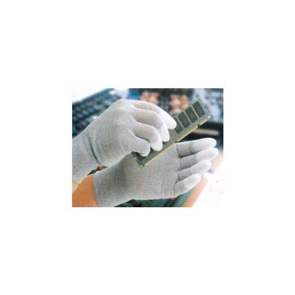 ESD kesztyű, disszipatív, ujjhegyén PU bevonattal XS