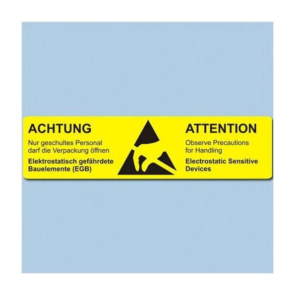 Etikett, ESD figyelmeztető cimke, 26x105 mm Német/Angol 1000/tekercs hosszában