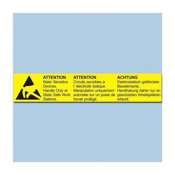 Etikett, ESD figyelmeztető cimke, 26x138 mm Német/Angol/Francia 800/tekercs hosszában