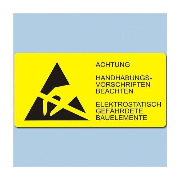Etikett, ESD logo és figyelmeztető felirat, 37x74 mm. Német 1000/tekercs kereszben