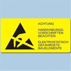 Etikett, ESD logo és figyelmeztető felirat, 37x74 mm Német 1500/tekercs hosszában
