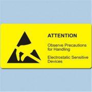 Etikett, ESD logo és figyelmeztető felirat, 37x74 mm. Angol 1500/tekercs hosszában