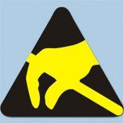 Etikett, ESD logo, 6x6 mm. 2000/tekercs