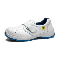 ESD safety shoes with non-ferous toe cap, white with velcro fasteners