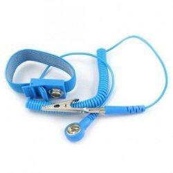 ESD wrist strap and coil cord set - 4 mm stud / banana plug + crocodile clip
